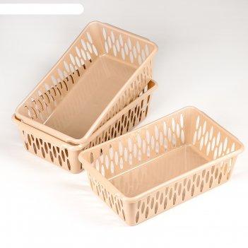 Набор корзинок 25,5x15x7,2 см light s 3 шт, цвет кофейный