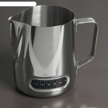 Молочник-питчер 600 мл  с индикатором температуры, 304 сталь