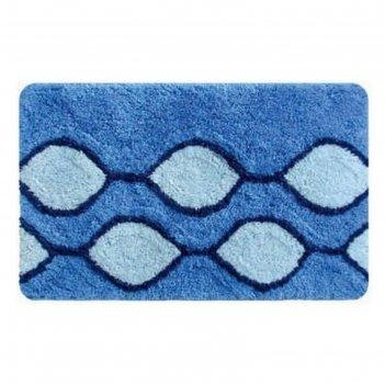 Коврик для ванной, комнаты 50х80 см curved lines, blue