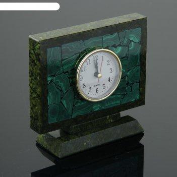 Часы настольные семафор, 15х5х13 см, змеевик, малахит