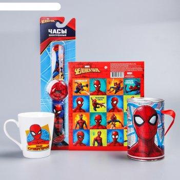 Подарочный набор, человек-паук. копилка, часы, кружка, наклейки