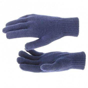Перчатки трикотажные, акрил, двойные, синий, двойная манжета россия сибрте