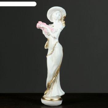 Фигура девушка в шляпе малая белая/золото 10х10х39см  микс