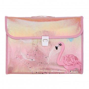 Папка-портфель 13 отделений, формат а4, на замке, микс фламинго