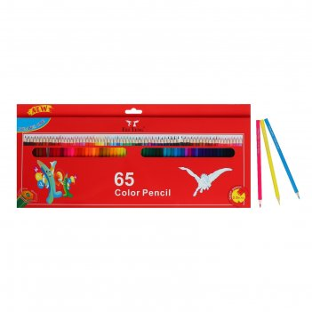 Карандаши цветные 65 цветов граненные, деревянные, в картонной коробке