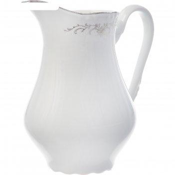 Молочник высокий 850 мл, constance, декор серый орнамент, отводка платина