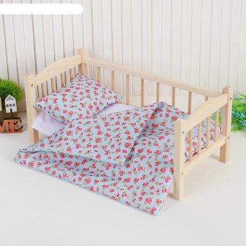 Кукольное постельное земляничка на голубом простынь 46*36,одеяло,46*36,под