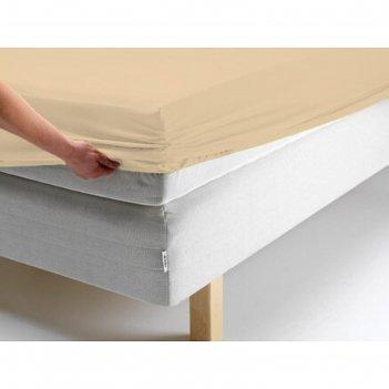 Простыня на резинке, размер 140х200х20 см, цвет персиковый, трикотаж 125 г