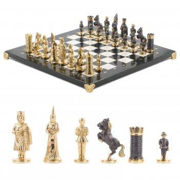 Шахматы камелот бронза мрамор змеевик 400х400 мм