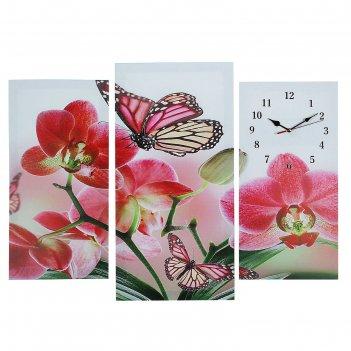 Часы настенные модульные «бабочки на цветах», 60 x 80 см