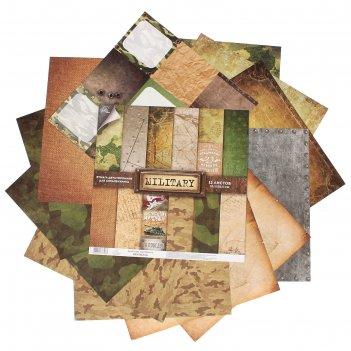 Набор бумаги для скрапбукинга  «military»12 листов 30,5 х 30,5 см, 180 г/м