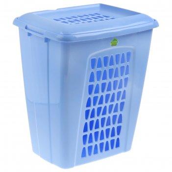 Корзина для белья прямоугольная с крышкой 60 л молетта, цвет синий