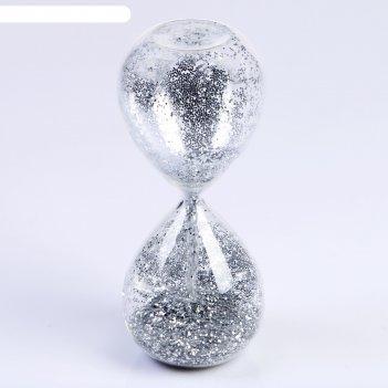 Часы песочные шанаду, сувенирные, 8х8х19 см, песок с серебристыми блёсткам