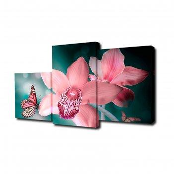 Картина модульная на холсте бабочка с орхидеями 55*94см