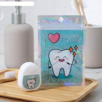 Зубная нить в голографическом пакете i love floss, 5 х 4 см