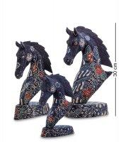 10-015 фигурка лошадь (батик, о.ява) набор из 3-х, син. 25см