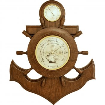 Якорь сувенирный, бм-6 массив дуба (смич) барометр, гигрометр