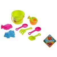 Песочный набор 8 предметов: ведро, лейка, грабли, совок, лопатка, сито, 2