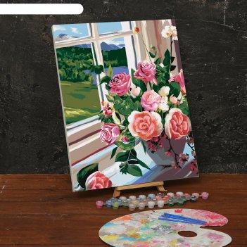 Картина по номерам на холсте с подрамником «букет роз на окне» 40х50 см