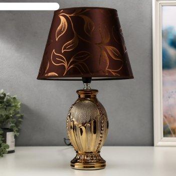 Лампа настольная 16281/1br+gd е14 40вт коричнево-золотой 24х24х40 см