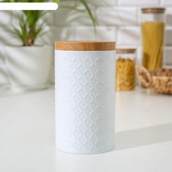 Банка для сыпучих продуктов ромб 19х10,5х10,5 см цвет белый