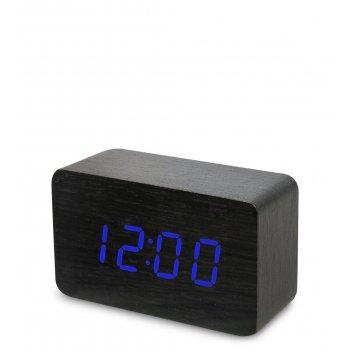 Ял-07-05/ 8 часы электронные сред. (черное дерево с синей подсветкой)