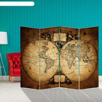 Ширма старинная карта мира, 200 x 160 см