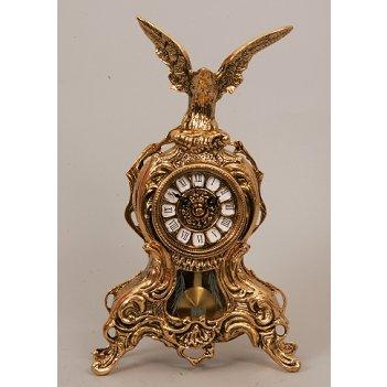 5718 часы с орлом с маятником зол.35х21см