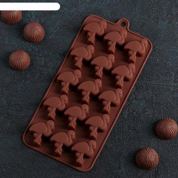 Форма для льда и шоколада фламинго, 15 ячеек, цвет шоколадный