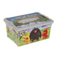 Ящик для игрушек с аппликацией angry birds с крышкой, цвет бежевый