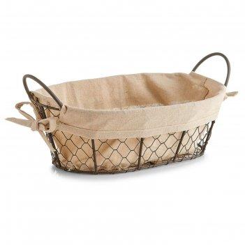 Хлебница zeller, 30 х 21 х 11 см, металл, текстиль