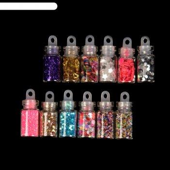 Фимо дизайн для ногтей ассорти 12 баночек в наборе, цвета микс
