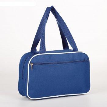 7922 п-600 сумка для обуви , 33*10*20, отд на молнии, н/карман, син с белы