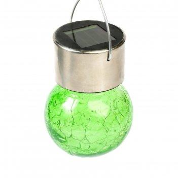 Фонарь садовый на солнечной батарее лампочка зеленая, 60 х 90 мм, 1 led, с