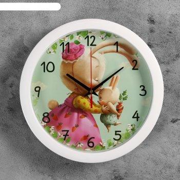 Часы настенные зайчик, белый обод, 28х28 см, микс