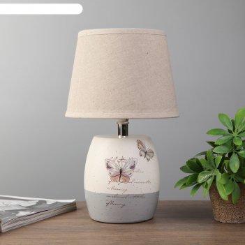 Лампа настольная бабочки 1xe14 40вт белый-серый 24х24х33 см.