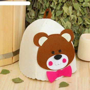 Банная шапка с детской аппликацией медвежонок, войлок