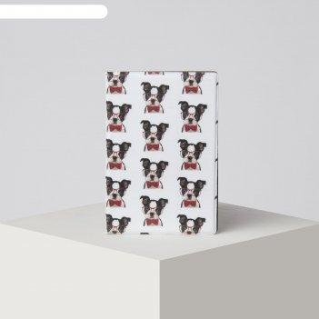 Обложка для паспорта 9,5*0,5*13,5см, пес в очках, белый