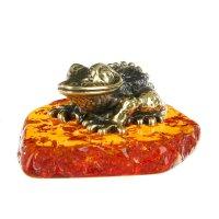 Сувенир из латуни и янтаря жаба пупырчатая 4,7х2 см