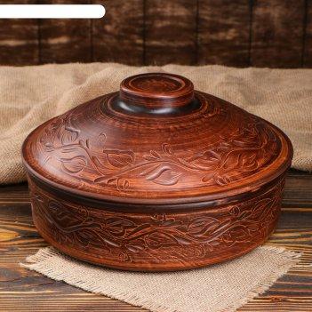 Сковорода №2 с крышкой декор красная глина