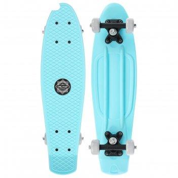 Скейтборд 56 х 15 см, колеса pvc 50 мм, пластиковая рама, цвет голубой