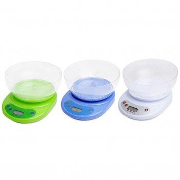 Весы электронные кухонные kamille 20,2*20*10см (зелёный, белый, синий)