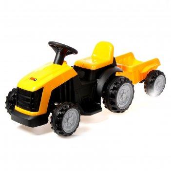 Электромобиль трактор, с прицепом, цвет желтый