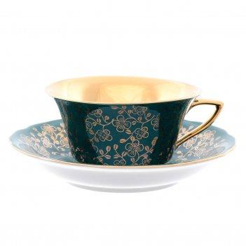 Чашка с блюдцем 150 мл виндзор золотые цветы, зеленый
