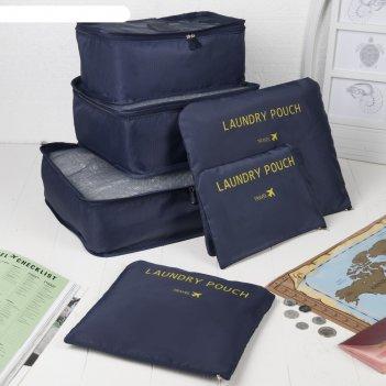 Набор для путешествий 37*13*27см, 6 предметов на молниях, синий