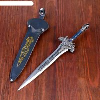 Сувенирный кортик в чехле, рукоять с лилией, гарда лев, на лезвии узор, 31