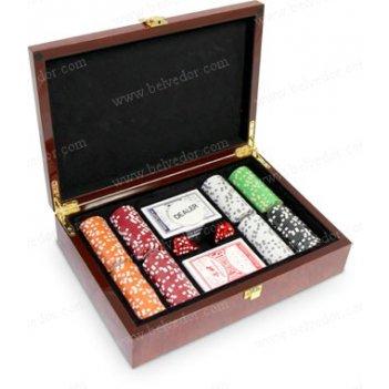 Набор для игры в покер в подарочном кейсе из дерева 200 фишек