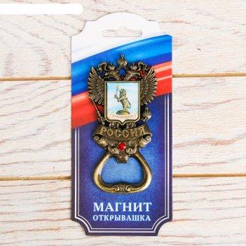 Магнит-открывашка «герб» (красноярск) латунь, 5 х 9,7 см