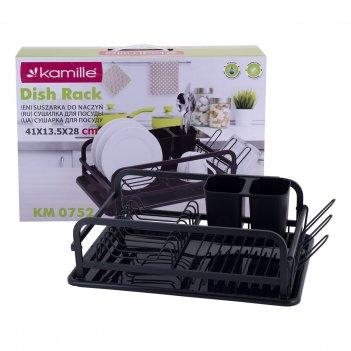 Сушилка для посуды kamille 41х28х13,5 см из алюминия с поддоном km-0752