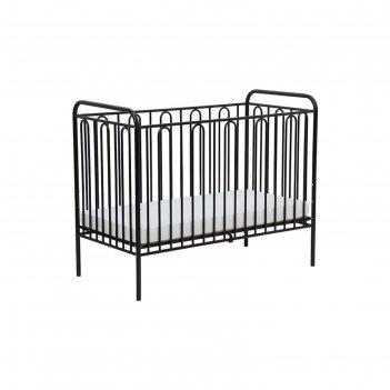 Детская кроватка polini kids vintage 110 металлическая, цвет чёрный